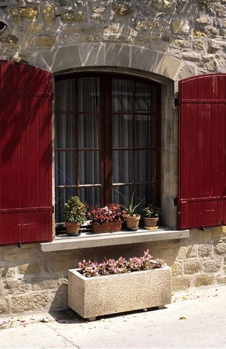 Window with potted plants in Italy, Europe
