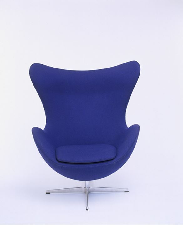 Studio shot of a blue chair in detail