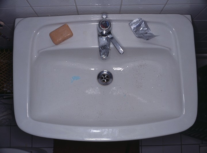 Overhead view of a washbasin with soap