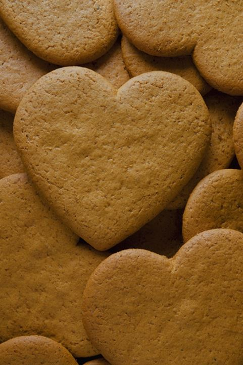 Close-up of heart shape gingerbread cookies, Sweden