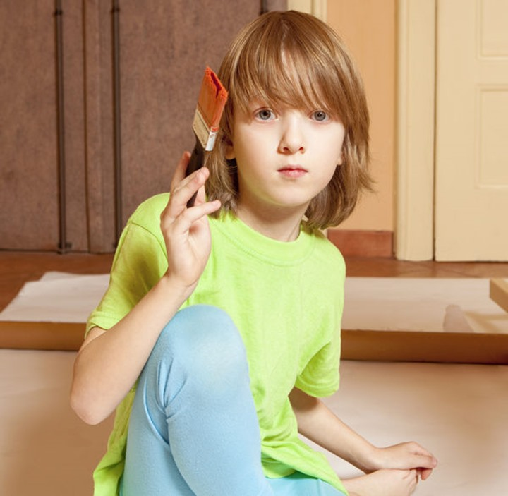 Portrait of a Boy Painting with Red Color