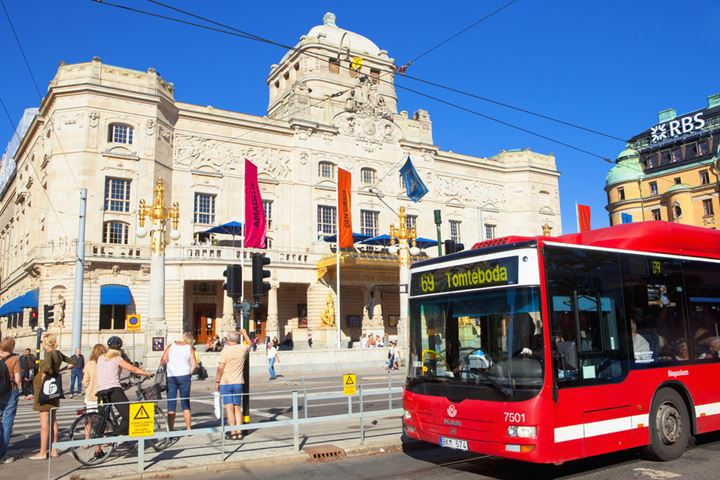 Sweden, Stockholm - Royal Dramatic Theatre and city traffic