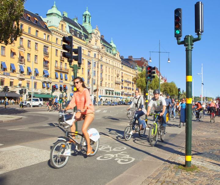 Sweden, Stockholm - Bicycle traffic at StrandvŠgen.