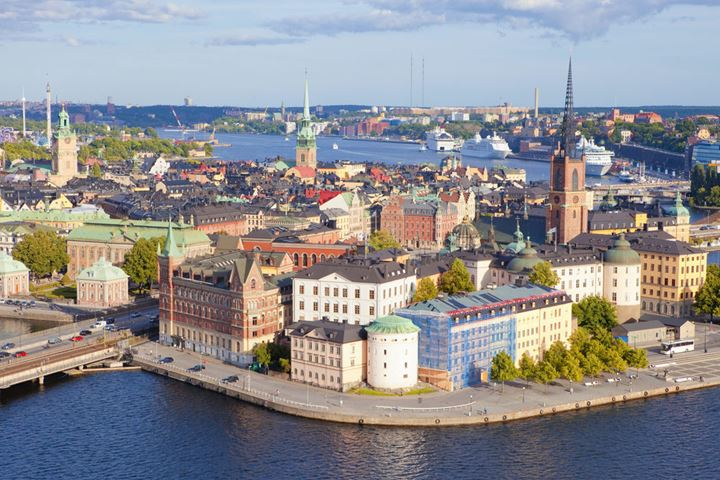 Sweden, Stockholm - The Old Town and Riddarholmen.