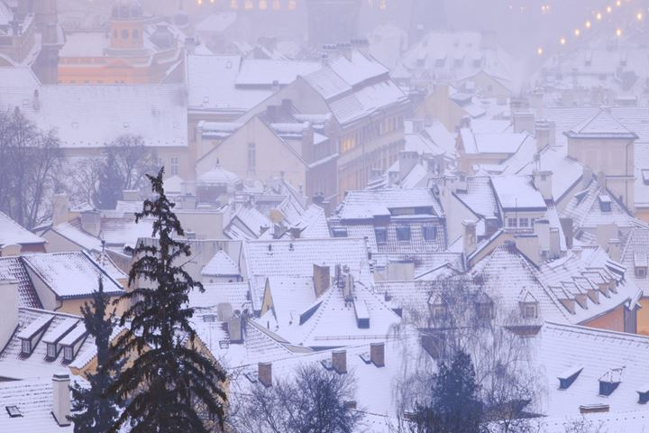 Prague - snowy rooftops of Little Quarter in winter