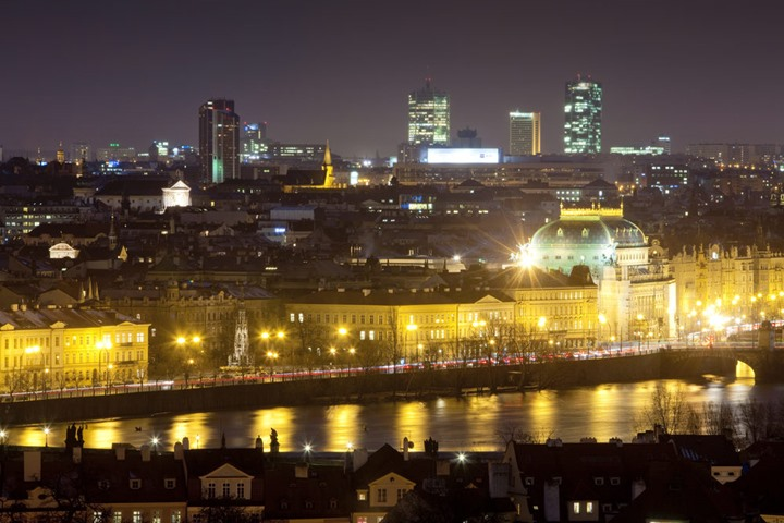 Prague - National Theatre, Smetanovo Embankment and highrises at Pankrac