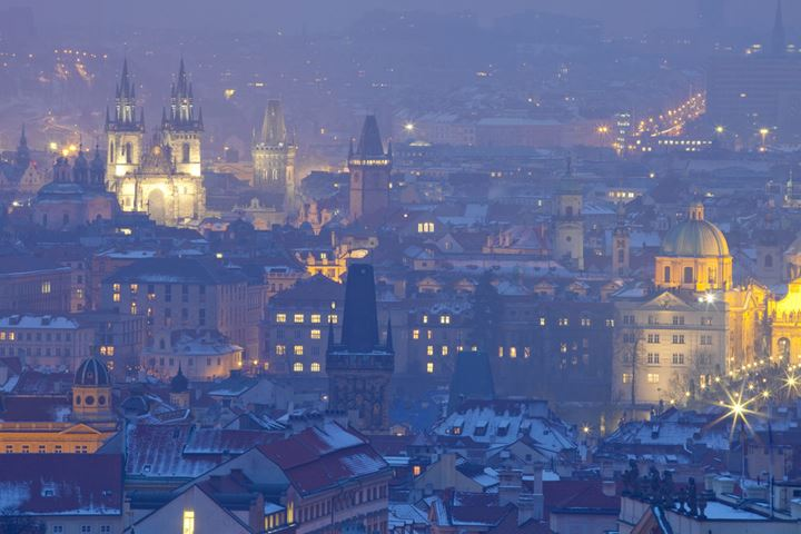 Czech Republic, Prague - spires of the old town at dusk