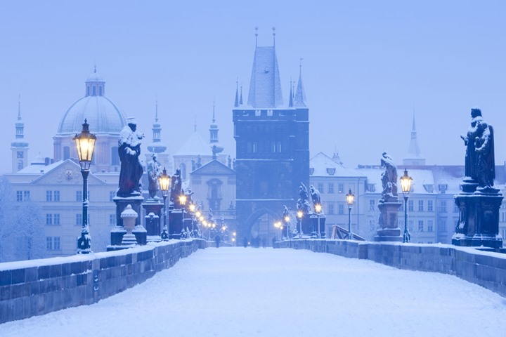 Czech Republic, Prague - Charles Bridge in winter.