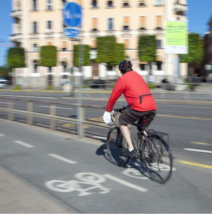 Sweden, Stockholm - bicyclist in a bike lane