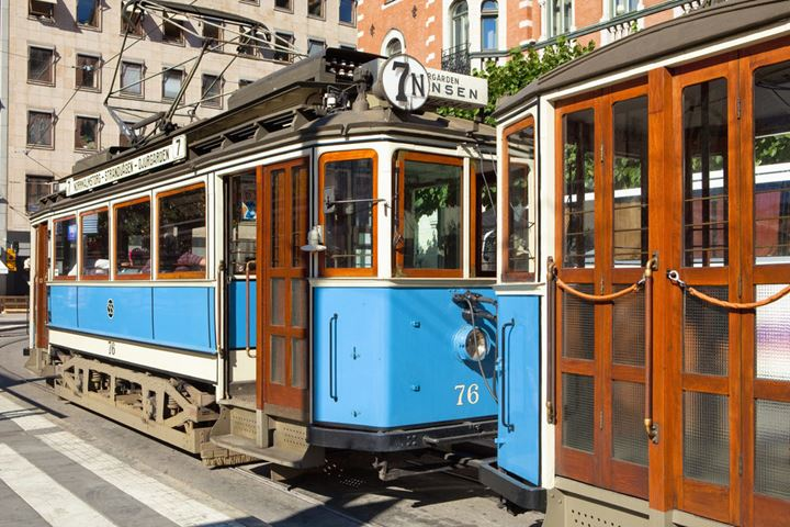 Sweden, Stockholm - public transport - old blue tram