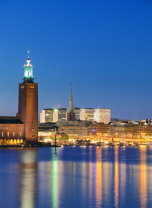 Sweden, Stockholm - The Town Hall (Stadshuset) and City at dusk.