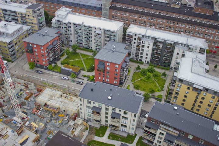 Aerial view of construction site in Västerås, Sweden