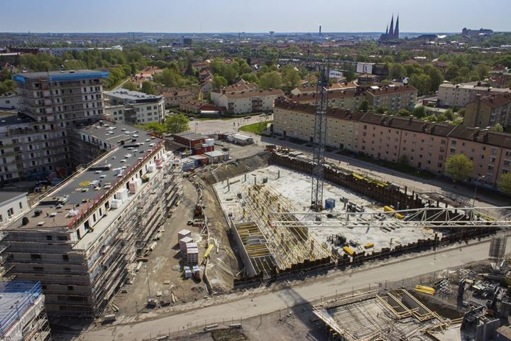 Aerial view of construction site in Uppsala, Sweden