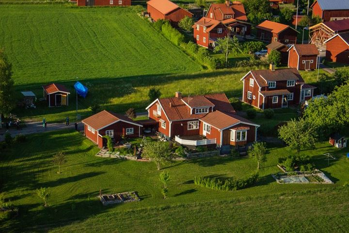 Aerial photo of house in Dalarna, Sweden