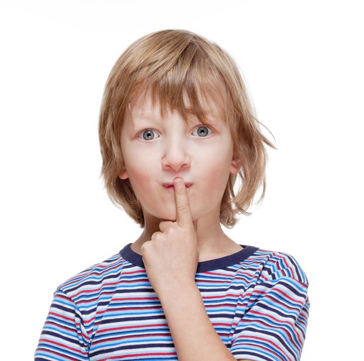Boy Looking Thinking, Finger on his Mouth - Isolated on White