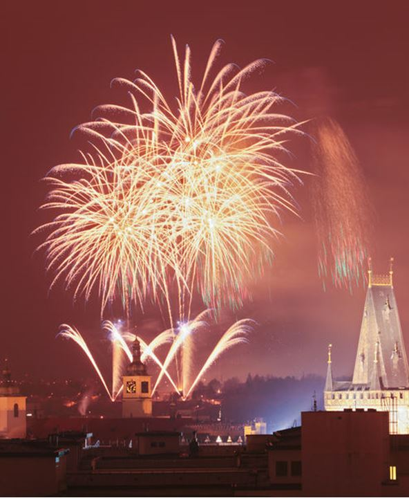 Czech Republic, Prague - New Years Fireworks over the Old Town.
