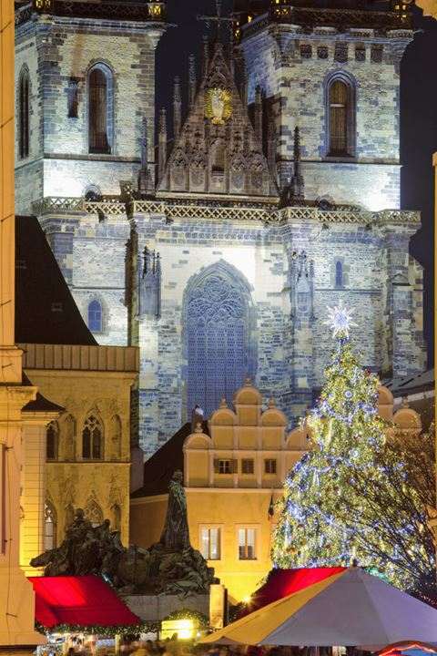 Czech Republic, Prague - Christmas Market and Tree at the Old Town Square