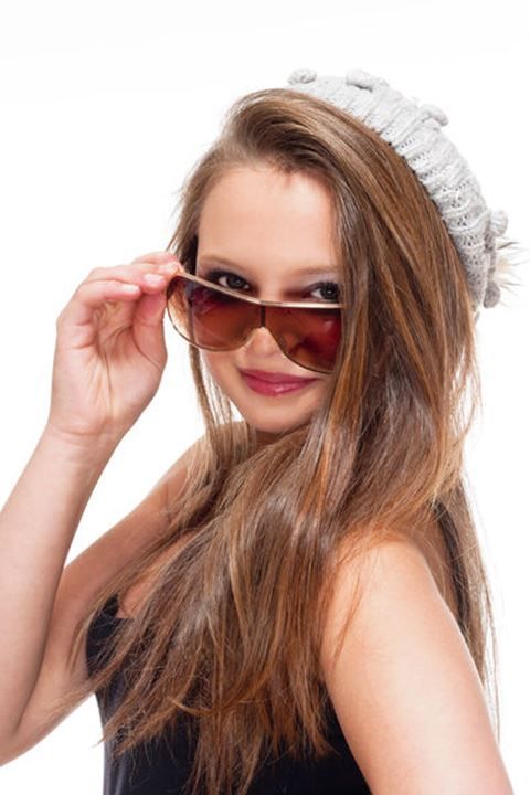Portrait of a Teenage Girl with Sunglasses - Isolated on White
