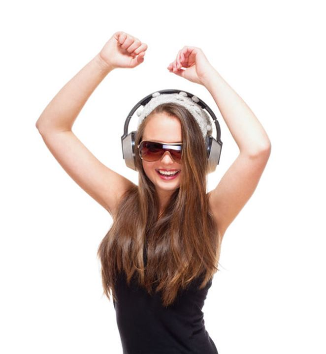 Portrait of a Teenage Girl with Sunglasses and Headphones