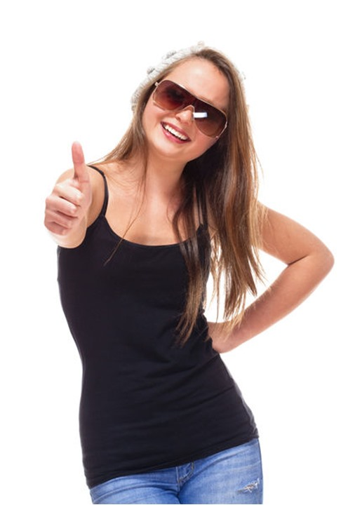 Portrait of a Teenage Girl with Sunglasses showing Thumbs up Sign