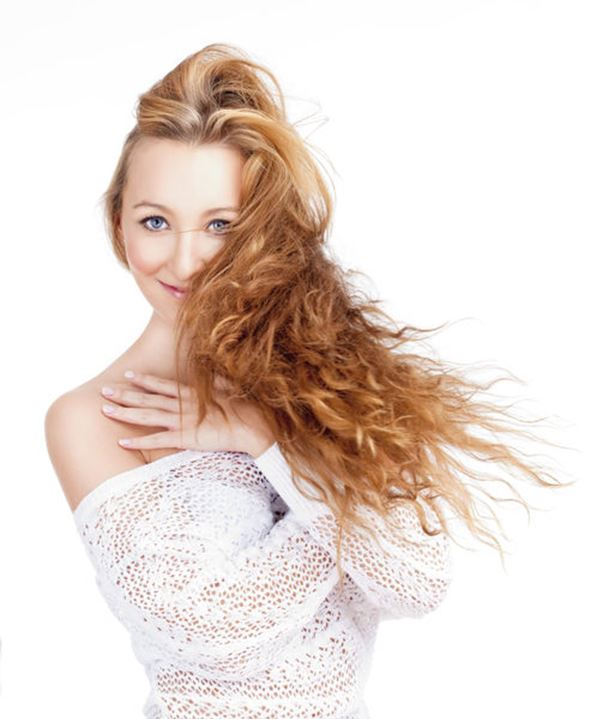 Portrait of a Young Beautiful Woman with Long Brown Hair -Isolated on White