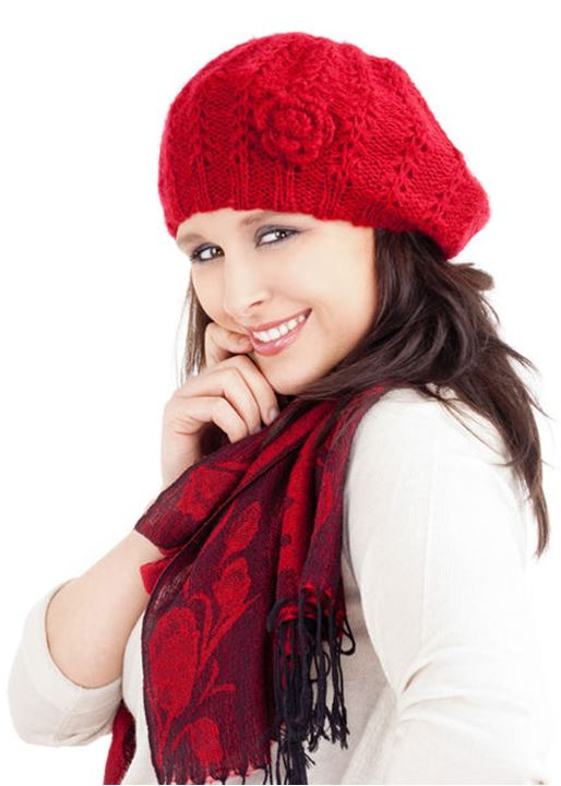 Young Woman in Red Cap and Scarf Smiling  - Isolated on White