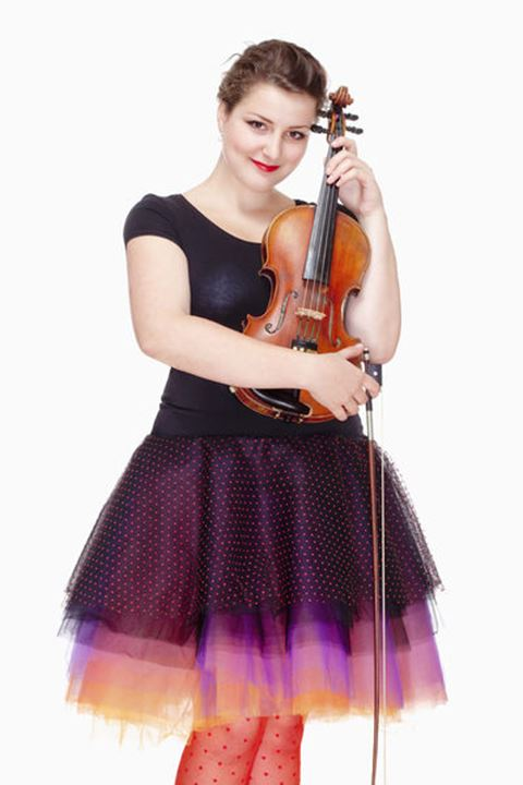 Portrait of Young Female Violin Player in Colorful Skirt - Isolated on White