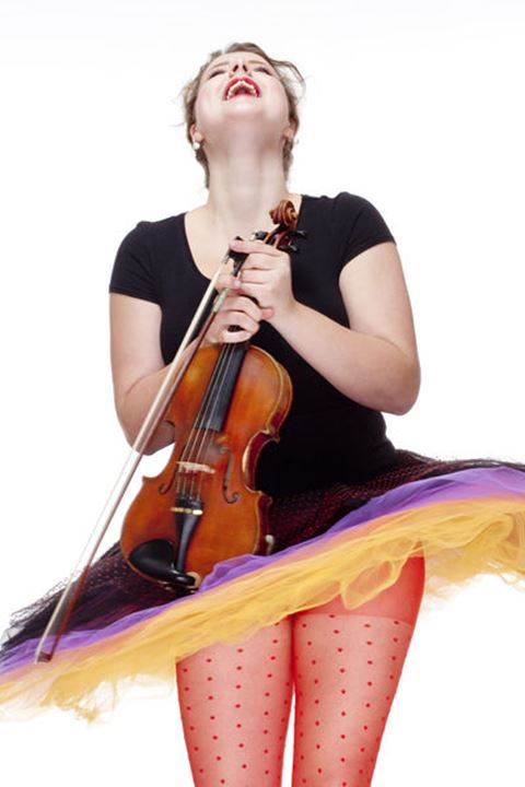 Young Female Violin Player in Colorful Skirt Dancing - Isolated on White