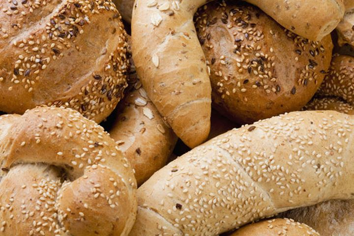Assortment of Different Breads and Rolls from Bakery