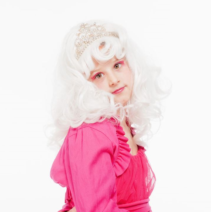 Young Girl in White Wig and Diadem Posing as Princess