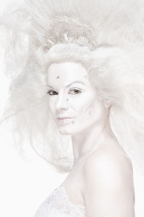 Portrait of a Woman with White Wig Posing as The Snow Queen