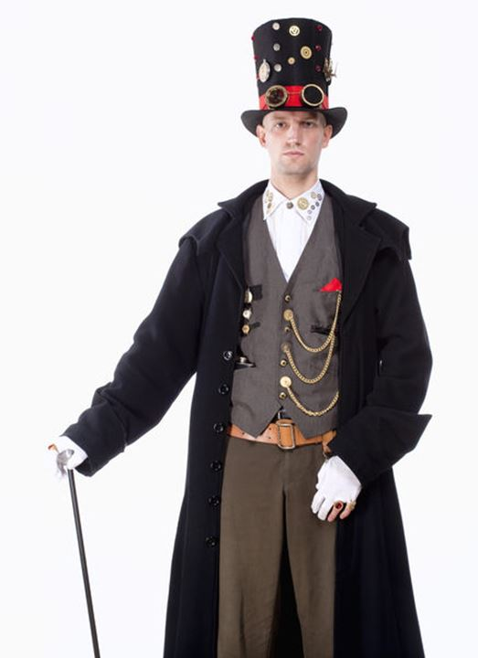 Portrait of a Magician with High Hat, Long Coat and Clock Parts Details