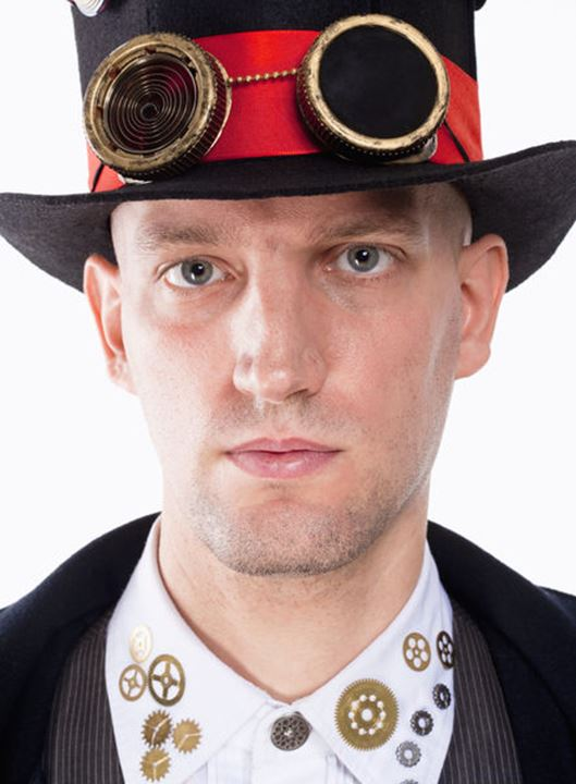 Portrait of a Magician with High Hat and Clock Parts Details
