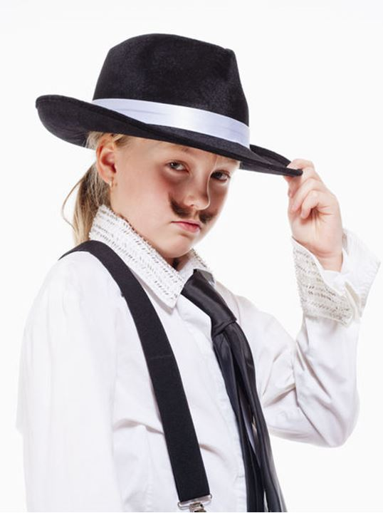 Portrait of a Little Girl with Hat Posing as a Gangster
