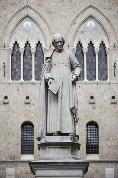 The statue of Sallust Bandini in Piazza Salimbeni in Siena