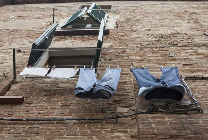Clothes hanging out to dry, Siena, Italy