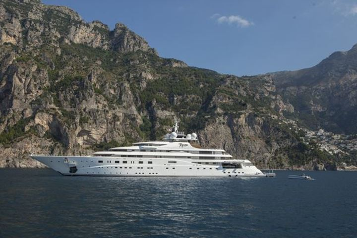 Luxury yachts outside Amalfi Italy