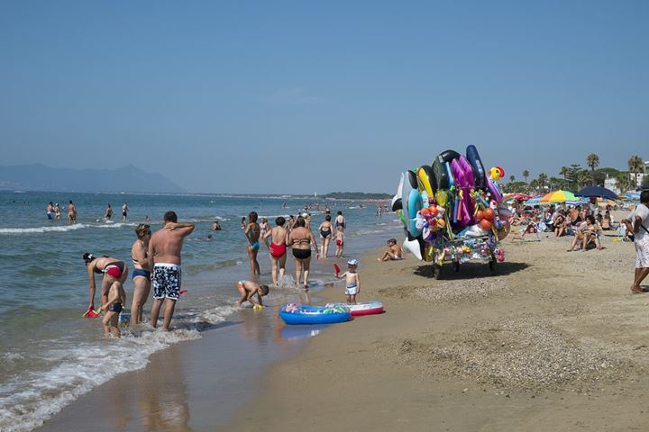 Beach life on the beach in Terracina, Italy