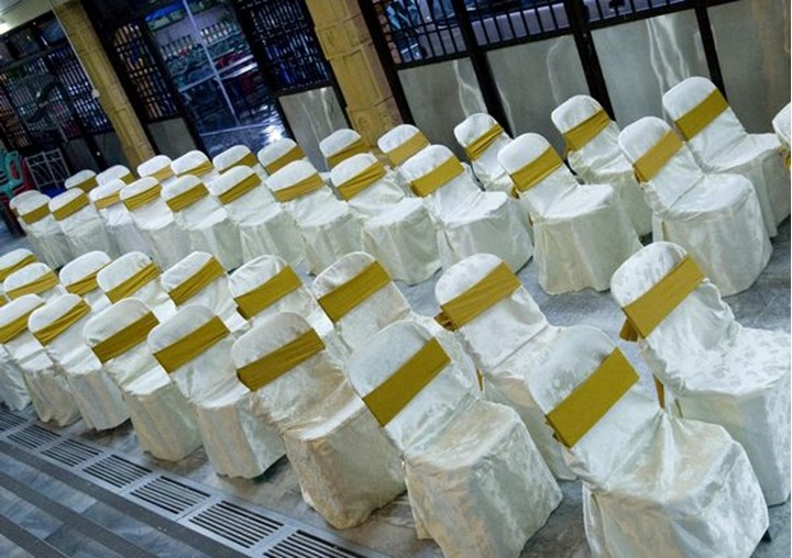 A line of dressed chairs, at an engagement ceremony, Malaysia