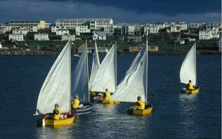 Group of children sailing on sailboats, houses in the background
