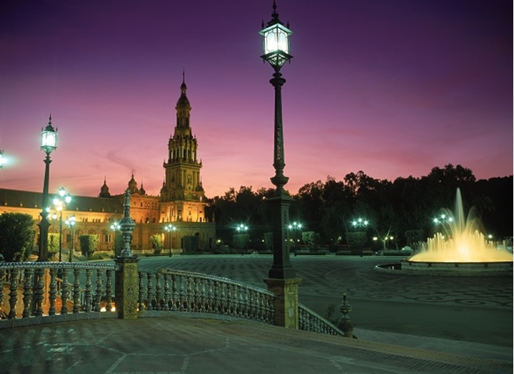 Plaza de Espana at night in Seville Spain