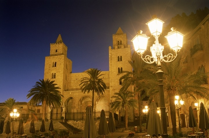 Cathedral in village of Cefalu at night in Sicily