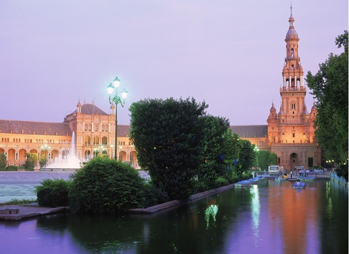 Plaza de España at dusk in Seville Spain