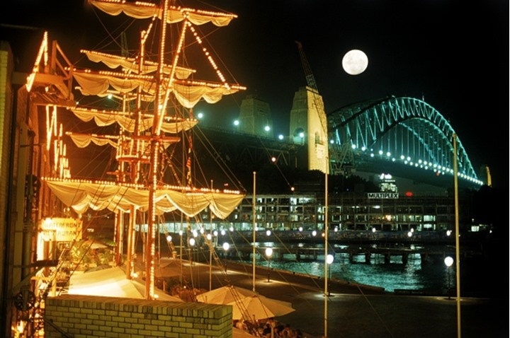 Moon over The Rocks and Sydney Harbour Bridge