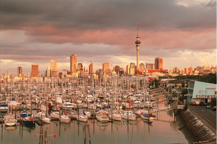 Yachts at Waitemata Harbour (Westhaven Harbour) with Skytower in Auckland  skyline at sunset