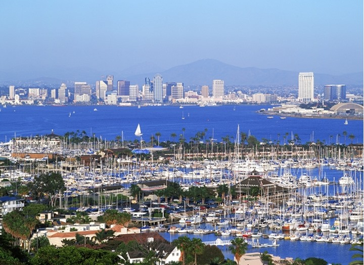San Diego yacht harbour and bay with city skyline