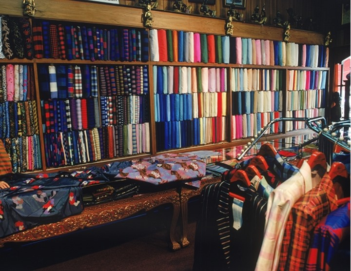 Variety of colorful designs and products in silk shop in Bangkok, Thailand