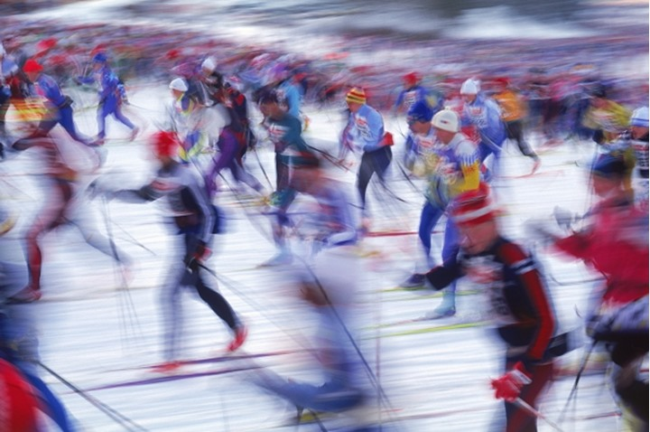 Ten thousand cross country skiers in yearly Vasaloppet race in Sweden