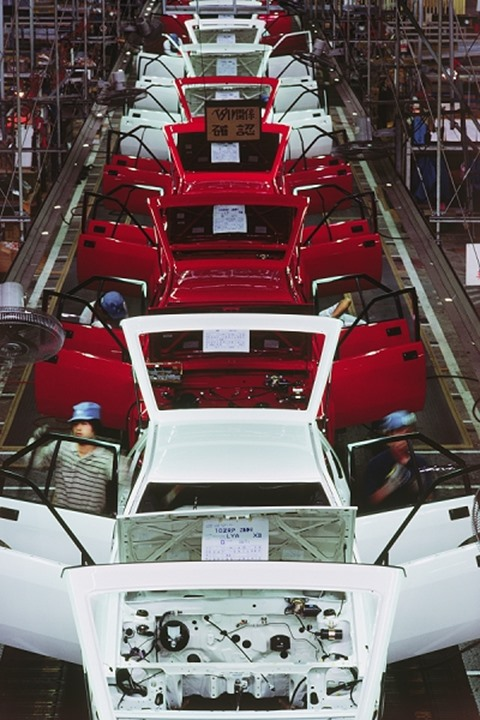 Automobile assembly and trim line at Nissan factory in Japan