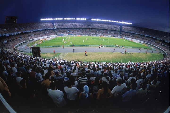 Fans at River Plata Stadium in Buenos Aires for soccer match